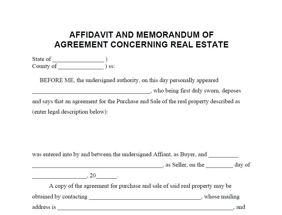 Affidavit Of Agreement Concerning Real Estate BillonbusinessNet