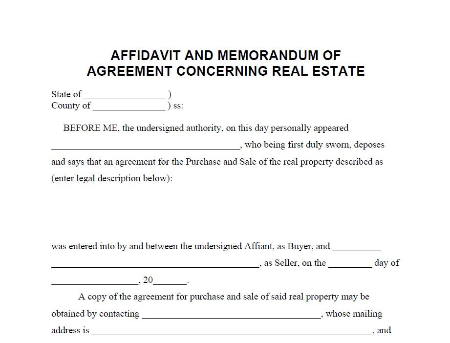 Affidavit Of Agreement Concerning Real Estate Billonbusiness